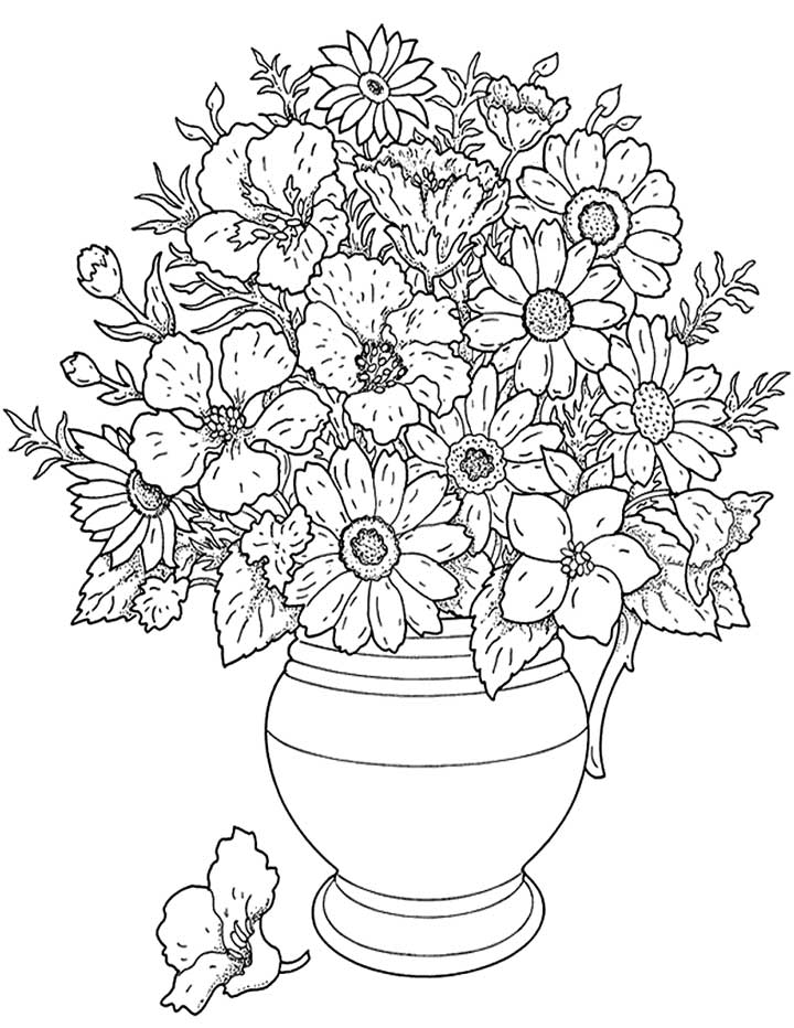 Flower Coloring Pages For Adults   Flower Coloring Page 720x932