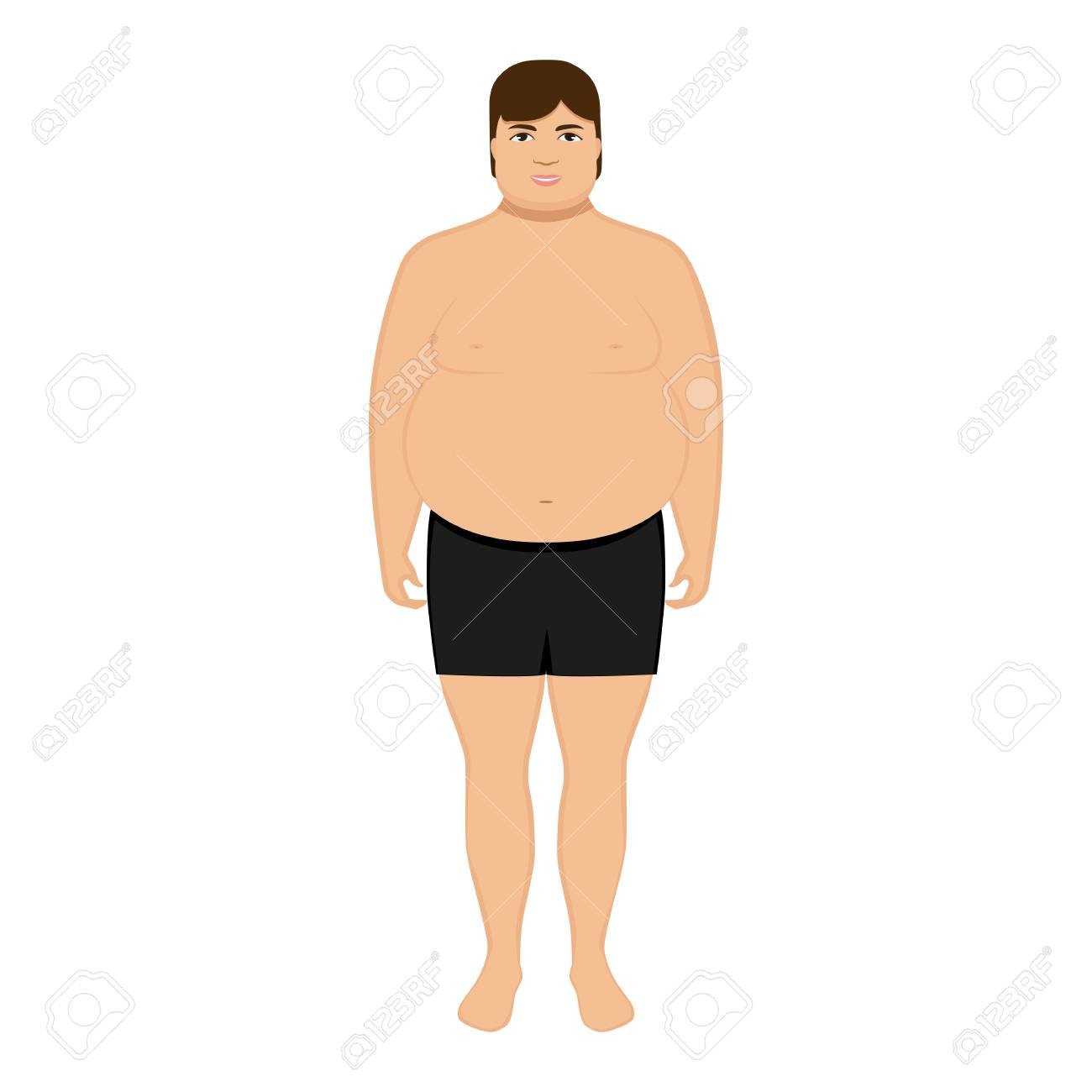 Vector Illustration Cartoon Fat Man Isolated White Background 1300x1300