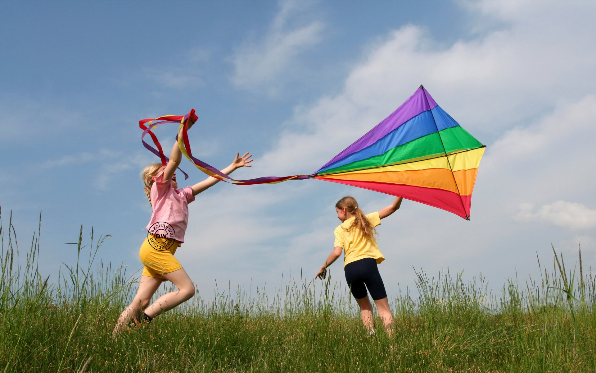 Kite flying bokeh flight fly summer hobby sport sky toy fun 1920x1200