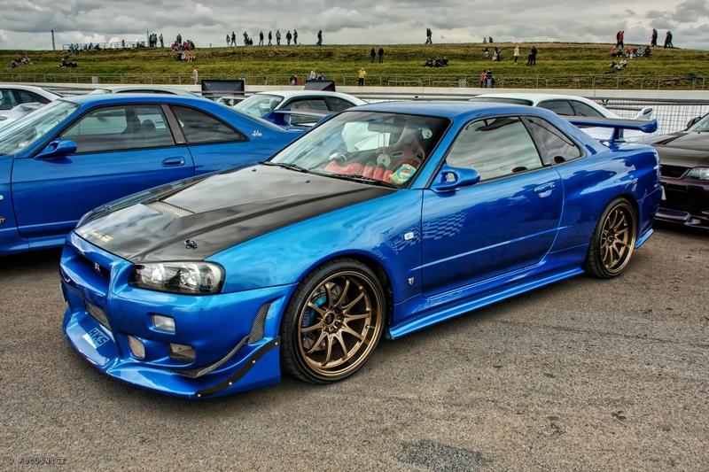 Nissan Skyline GT R R34 Blue Color On Highway Wallpaper