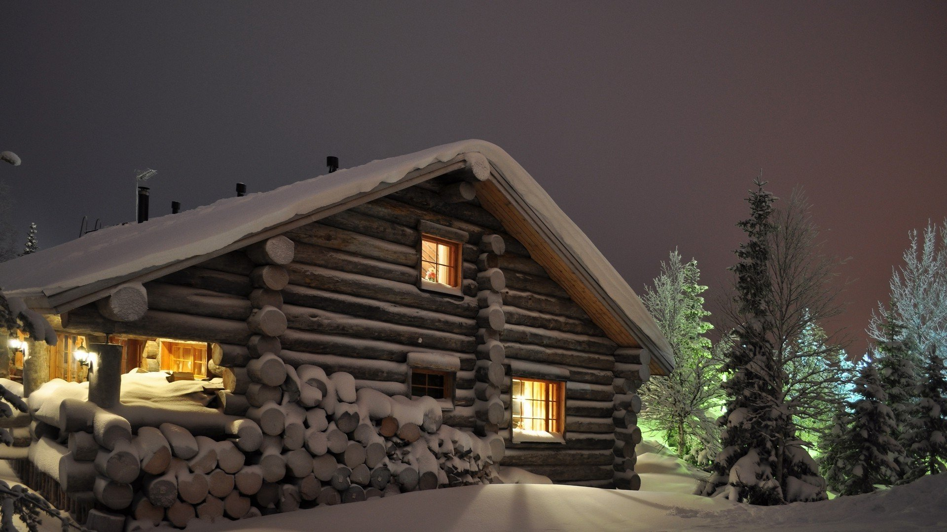 Log Cabin In Snow Wallpaper Wallpapersafari