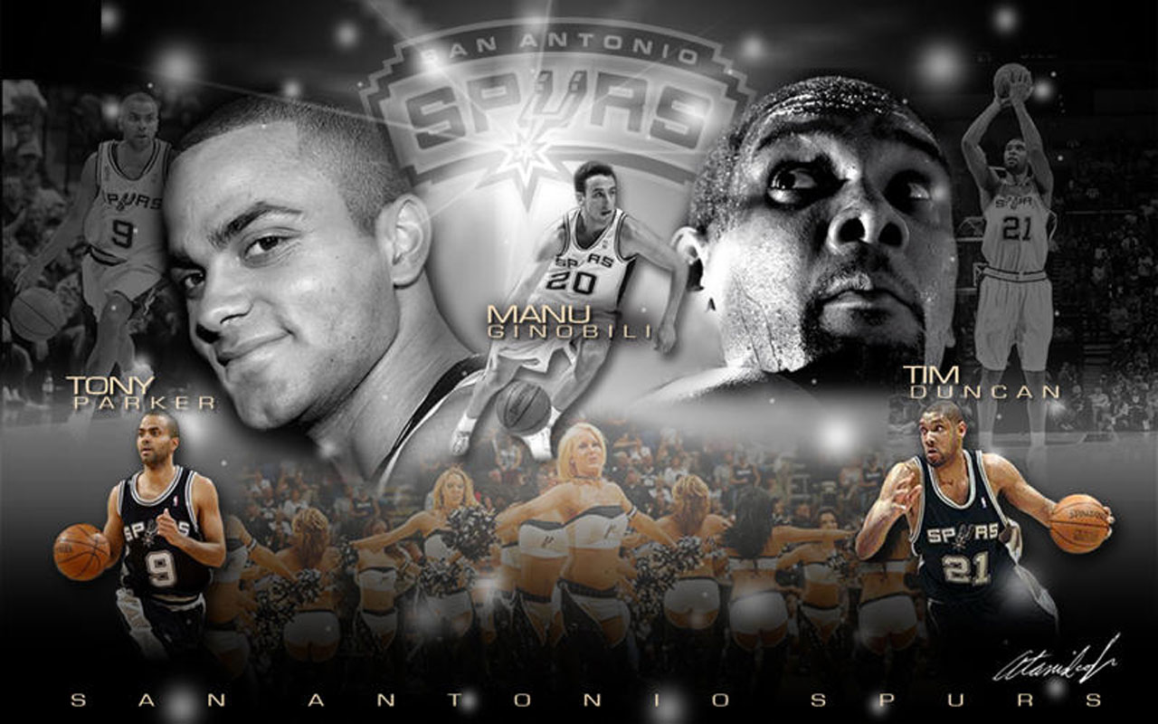 Tim Duncan Wallpaper Together with Other Two Great Teammates NBA 1280x800