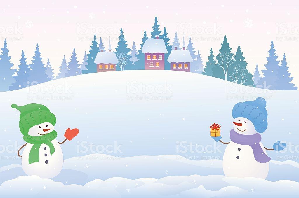 Snowmen Background Stock Illustration   Download Image Now   iStock 1024x679