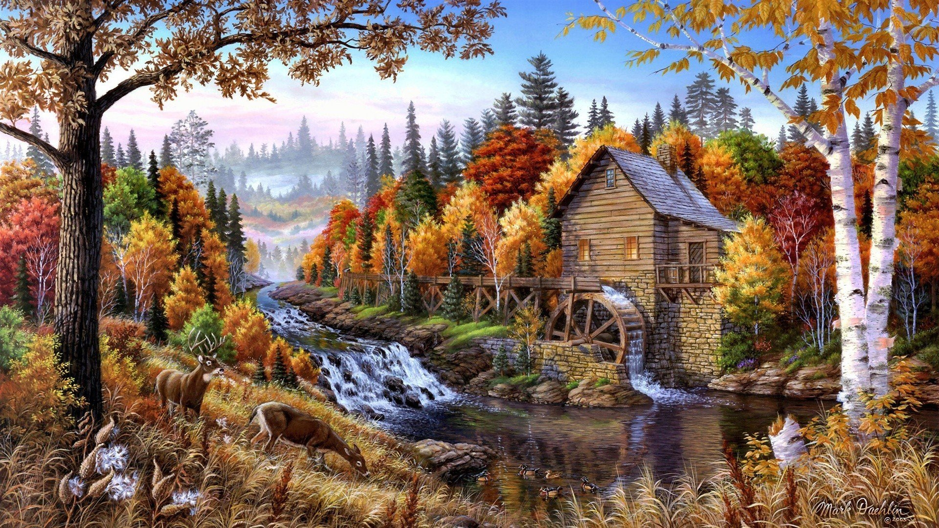 Artwork Forests Home Oil Painting Paintings Wallpaper   Hd 1920x1080