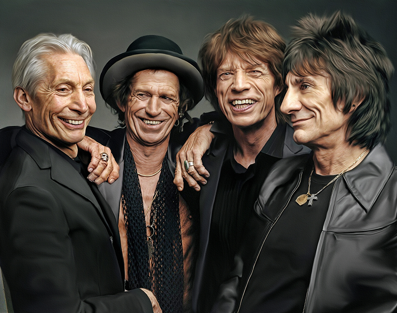 Wallpaper Men Smile Rolling Stones Mick Jagger Keith Richards 1299x1024