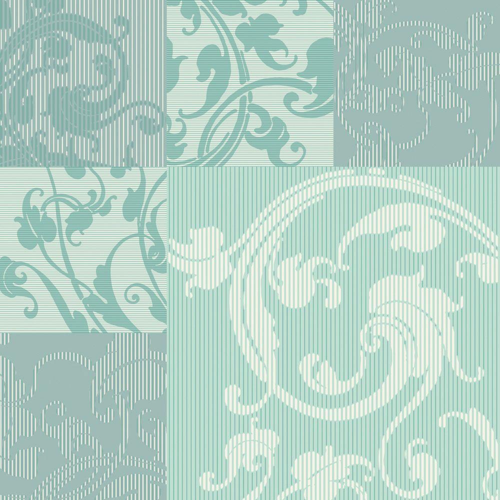 Aqua Modern Geometric with Classic Acanthus Leaf Overprint Wallpaper 1000x1000