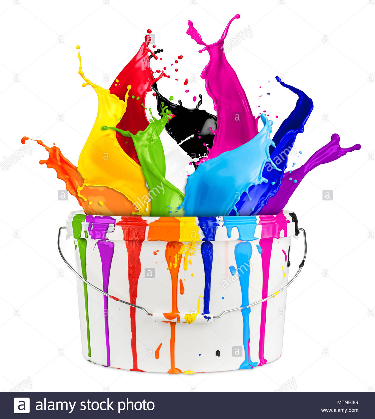 white bucket with colorful rainbow color paint splashes isolated 1242x1390