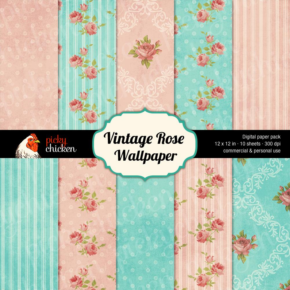 Vintage Rose Wallpaper digital background paper is based on antique 1000x1000
