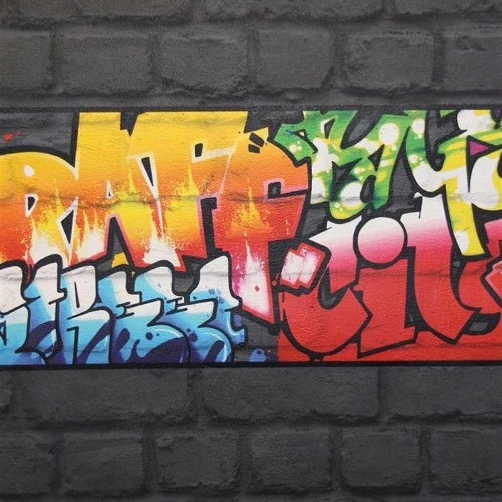 about BLACK GRAFFITI WALLPAPER BORDERS   RASCH 237900   NEW ROOM DECOR 1000x1000