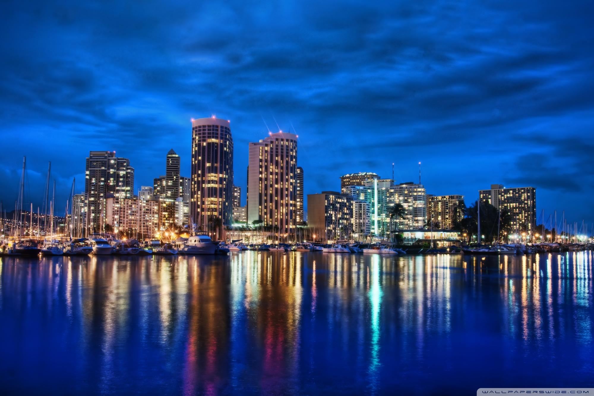 Waikiki Skyline At Night 4K HD Desktop Wallpaper for 4K Ultra 2000x1333