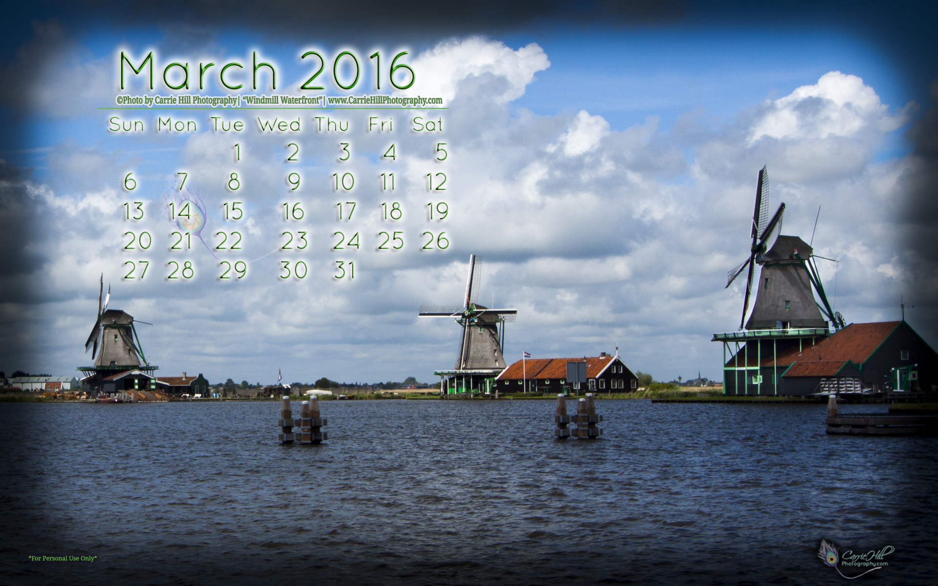 downloadable March 2016 Desktop Wallpaper Calendar 1920x1200
