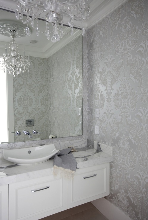 Free Download Silver Damask Wallpaper Contemporary Bathroom The