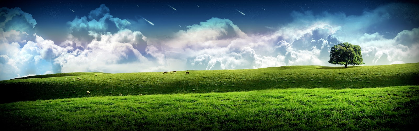 screen monitor extended countryside windows wallpaper with meteors 1600x500