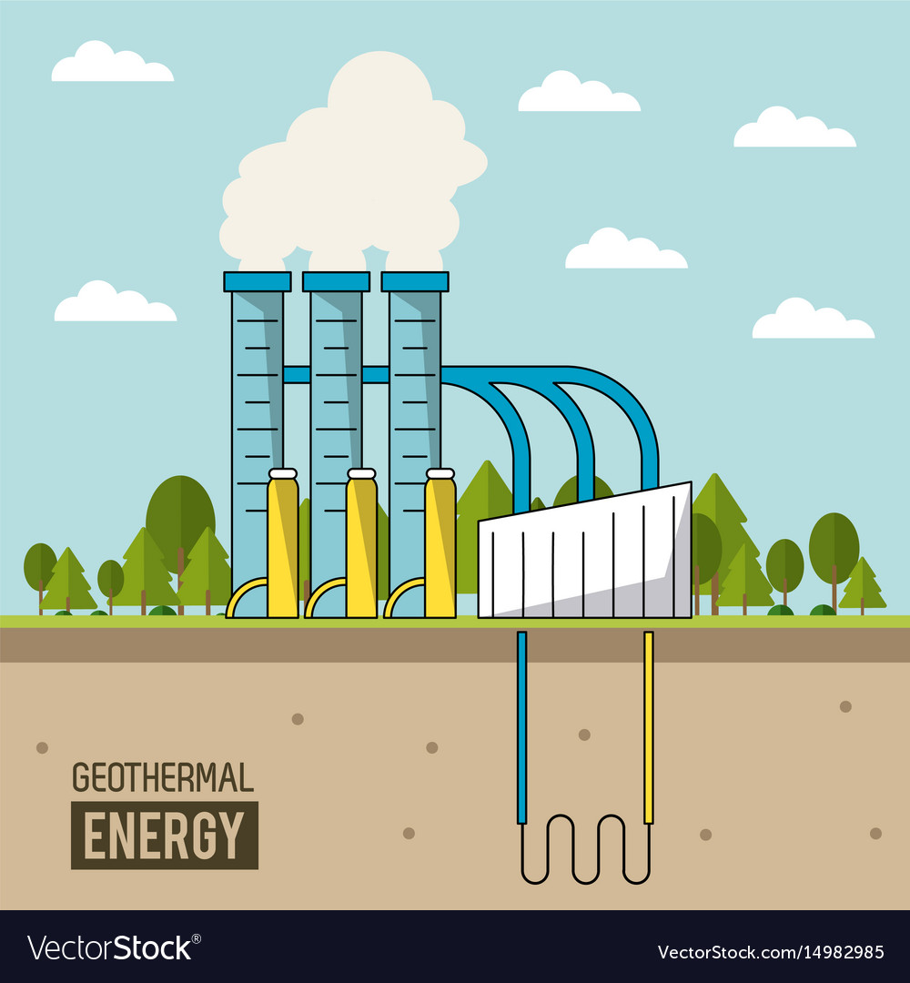 Coloful background geothermal energy production Vector Image 1000x1080