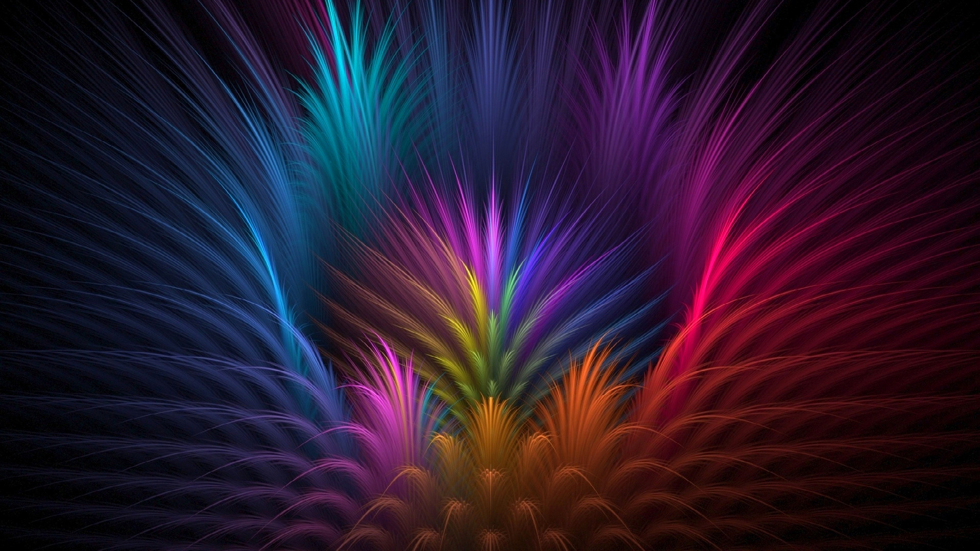 abstract colored rays symmetry feather art background wallpaper 1920x1080