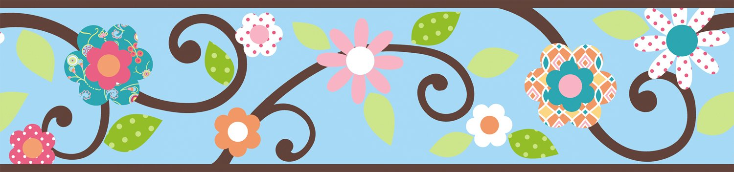 Blue and Brown Floral Scroll Peel and Stick Wallpaper Border for Girls 1500x352