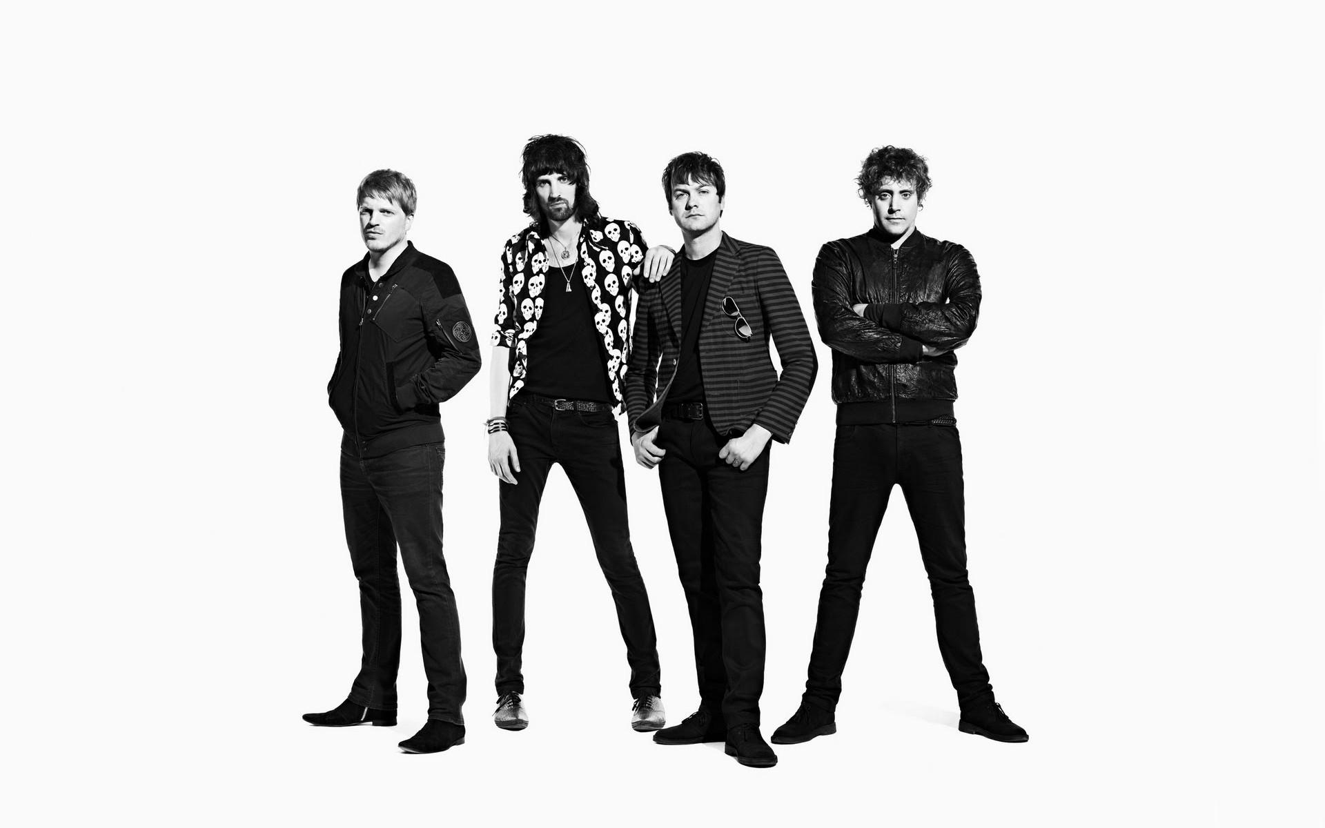 men Grayscale British Music Bands White Background Kasabian 1920x1200