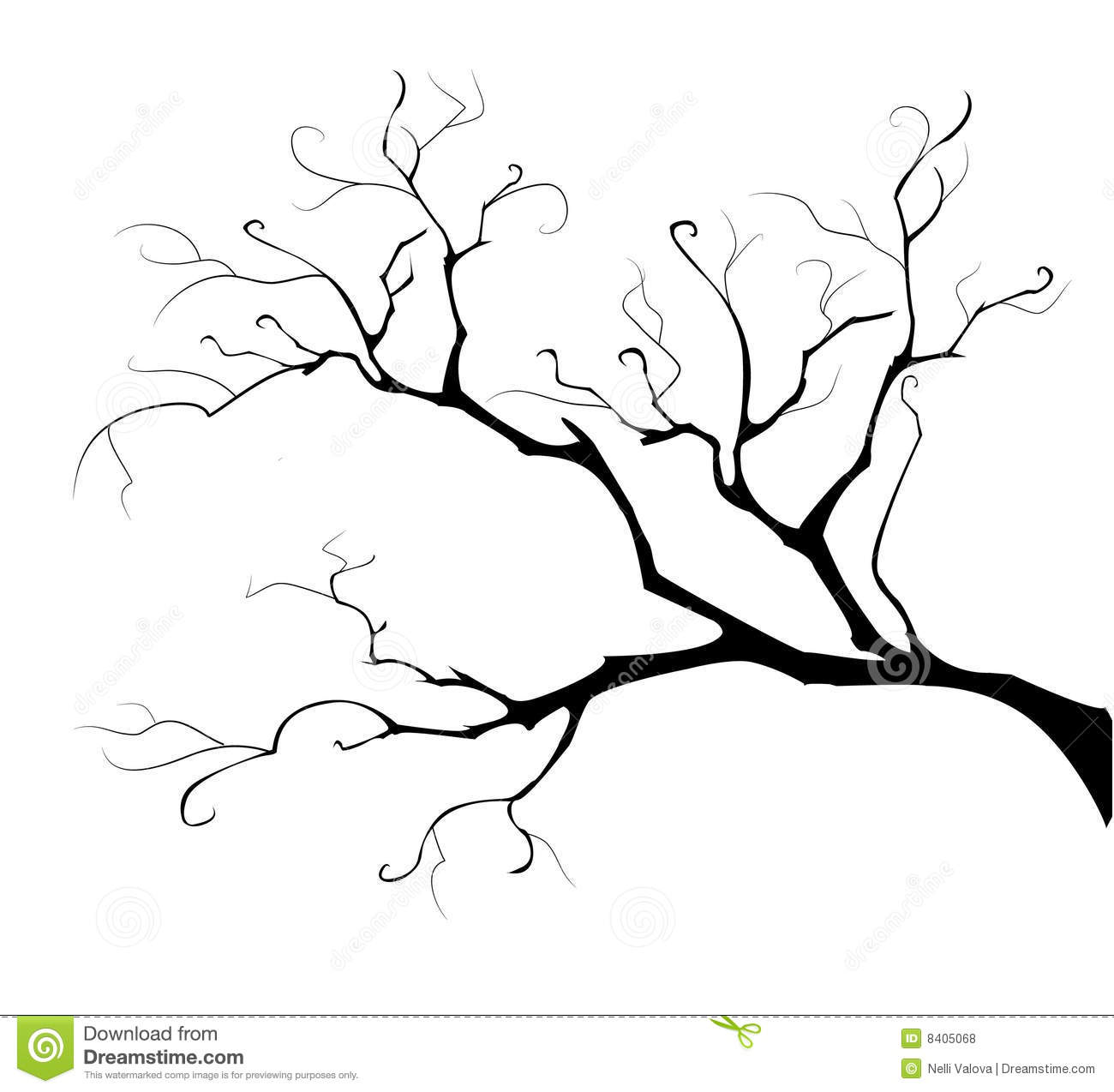 how to draw a tree branch silhouette