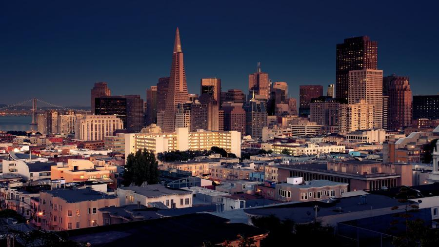San Francisco California Night Skyline 4K Wallpapers 900x506