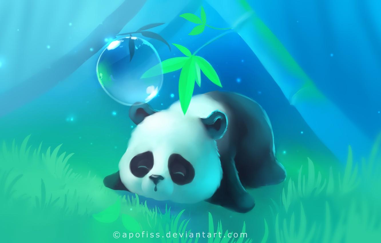 Wallpaper grass tree lights Panda sleeping lies bubble 1332x850