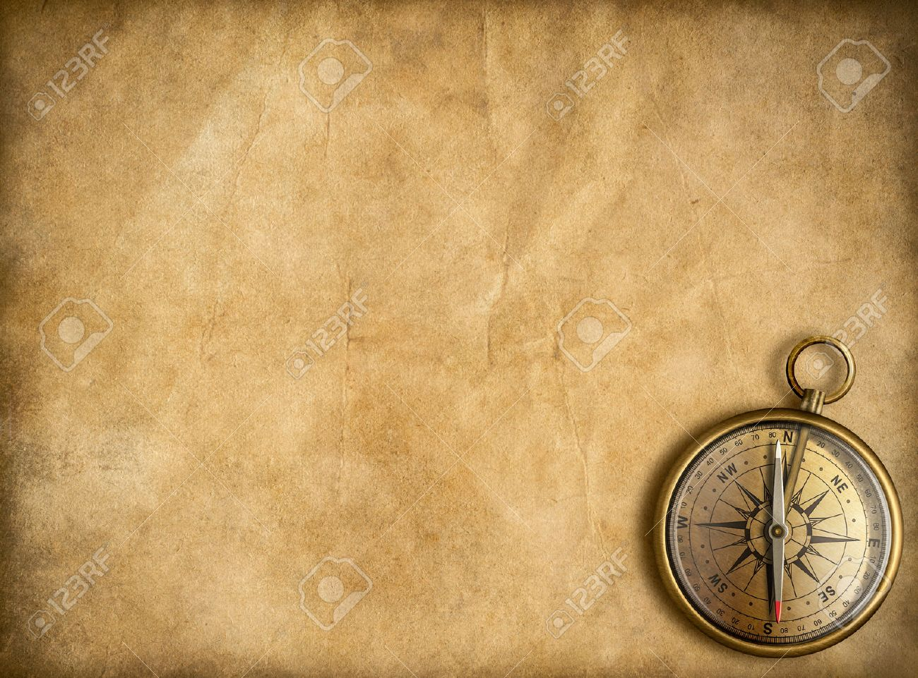 Old Golden Compass With Vintage Map Background Stock Photo 1300x961
