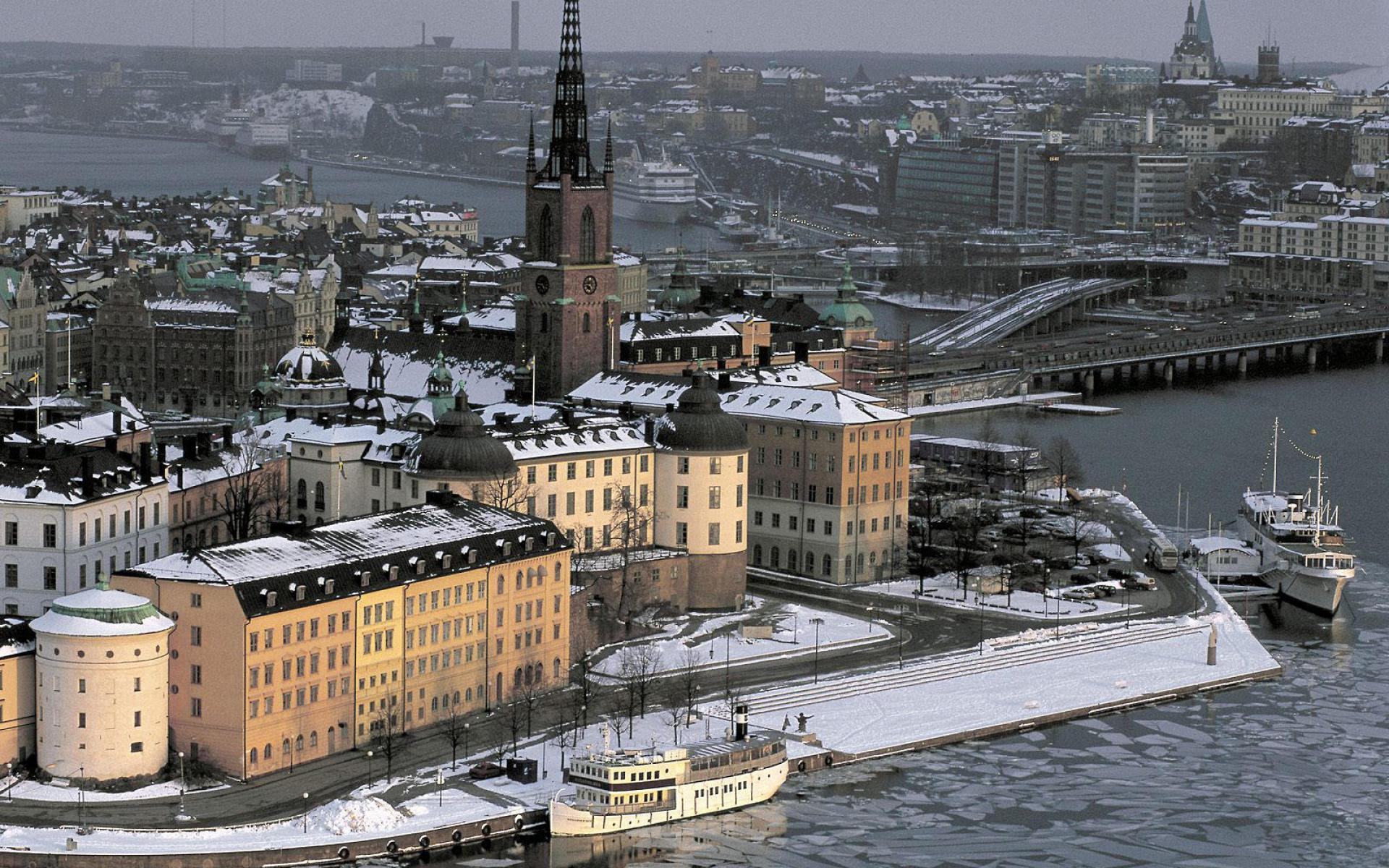 Stockholm Sweden during Winter Desktop Wallpaper Background Desktop 1920x1200