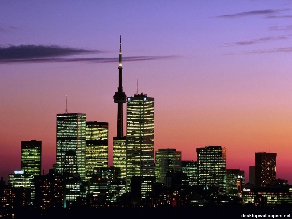 Toronto skyline at dusk   Toronto Canada at desktopWallpapersnet 1024x768