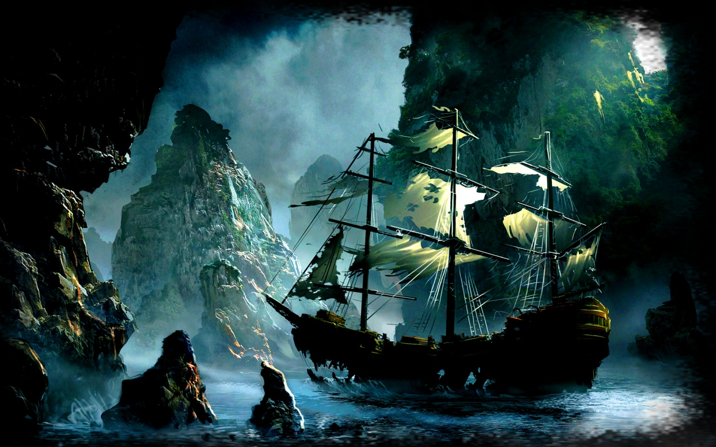 Tags sea ship rocks fantasy world imaginary pirate ship ghost ship 1440x900