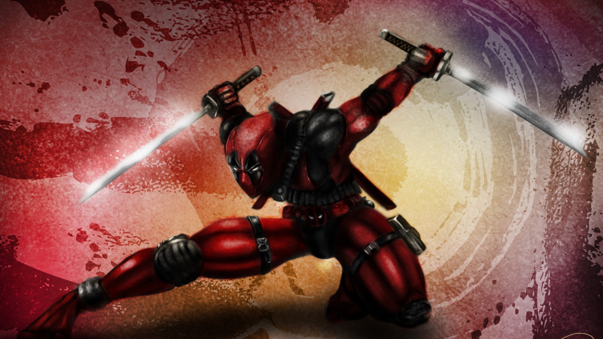 Deadpool High moon studios Mask Gun Red suit Full HD 1080p HD 1920x1080
