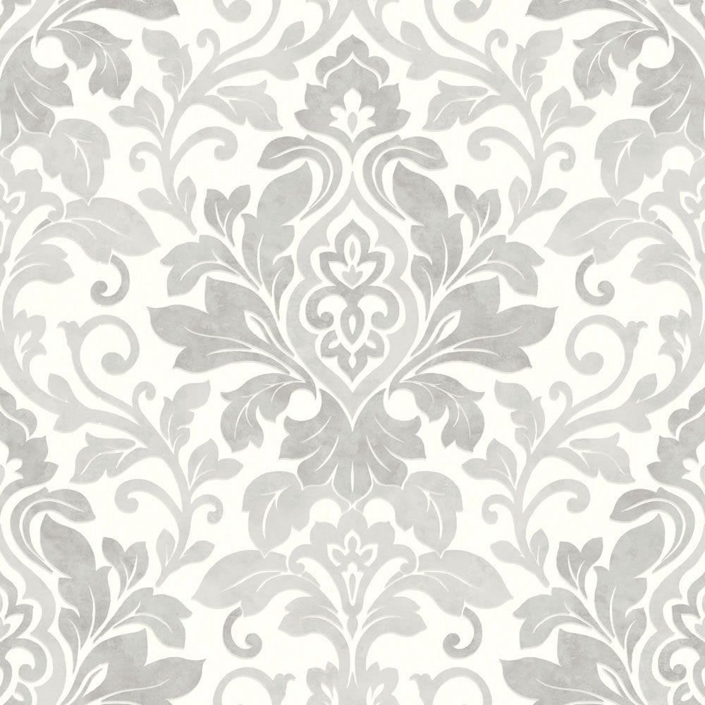 Silver Grey White   414603   Mozart   Damask   Arthouse Wallpaper 1000x1000