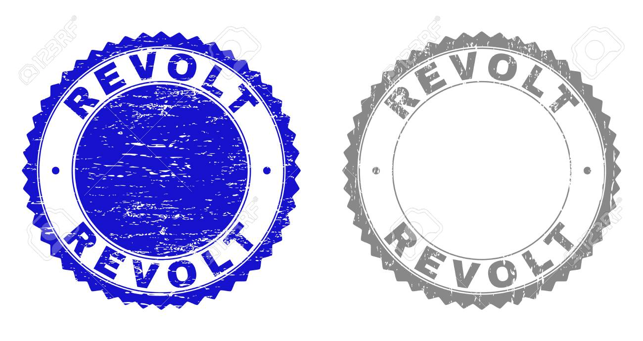 Grunge REVOLT Stamps Isolated On A White Background Rosette 1300x690