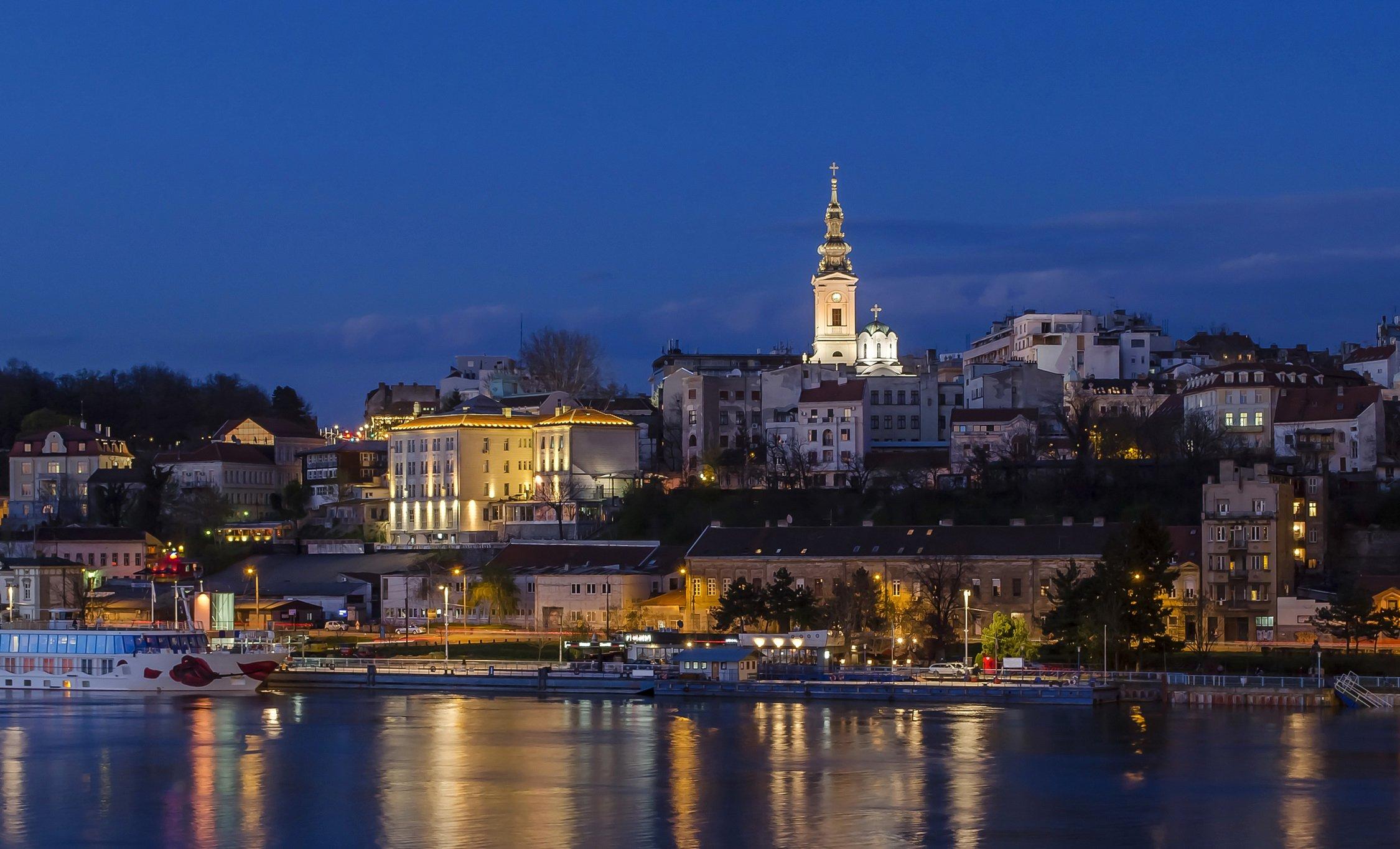 Rivers Houses Belgrade Serbia Night Street lights Cities 2250x1365