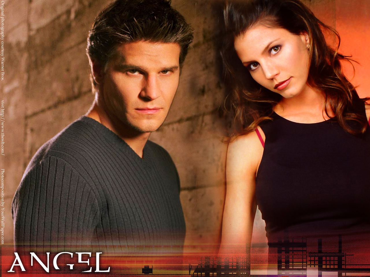 and chrisma carpenter as angel and cordelia from the tv show angel 1280x960