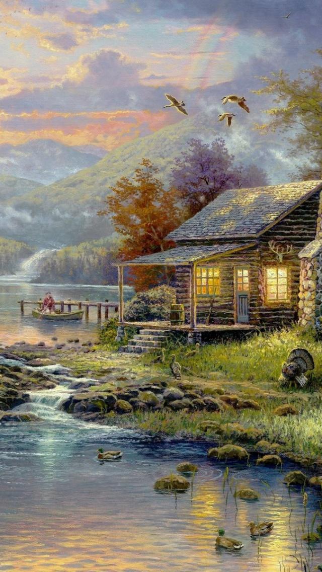 640x1136 Cabin Scenic Animals Creek Sky Iphone 5 wallpaper 640x1136