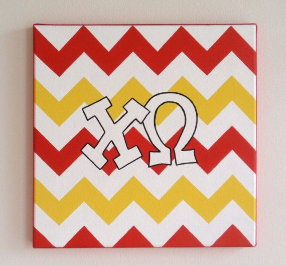 hand painted Chi Omega letters outline with chevron background 12x12 570x530