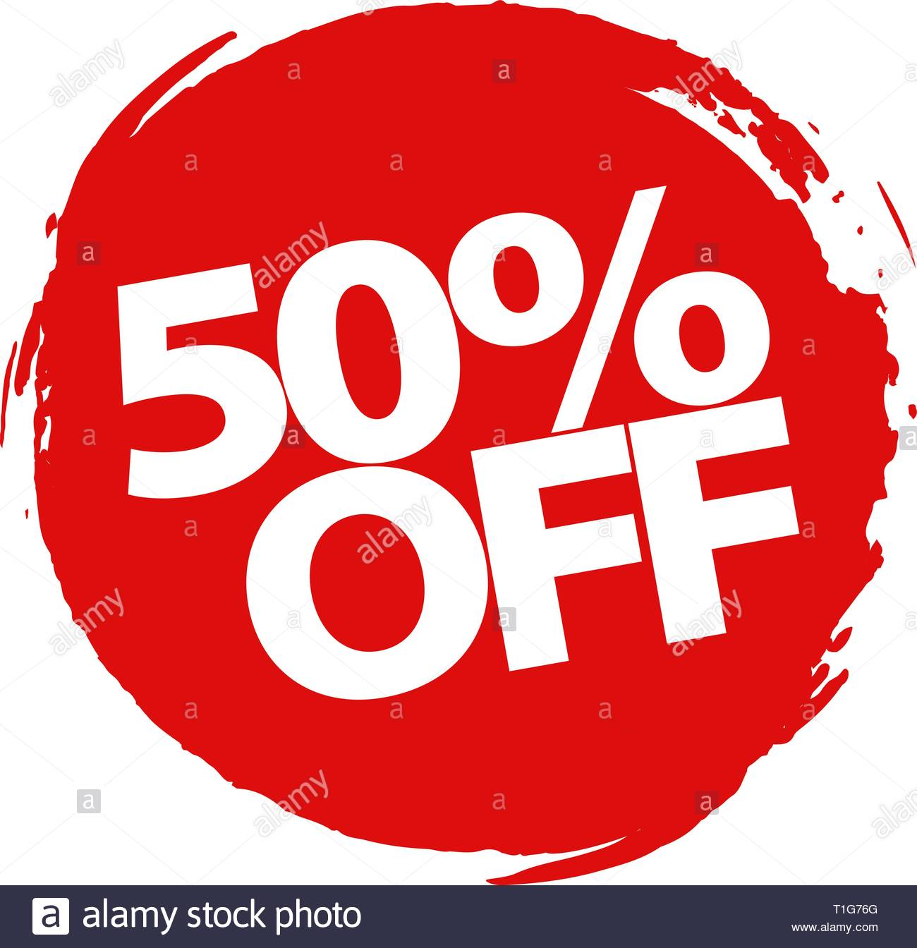 Special offer 50 percent discount vector design on a white 1300x1344