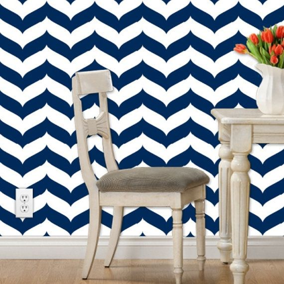 Removable Wallpaper Wave Chevron Print in by GailWrightatHome 570x570