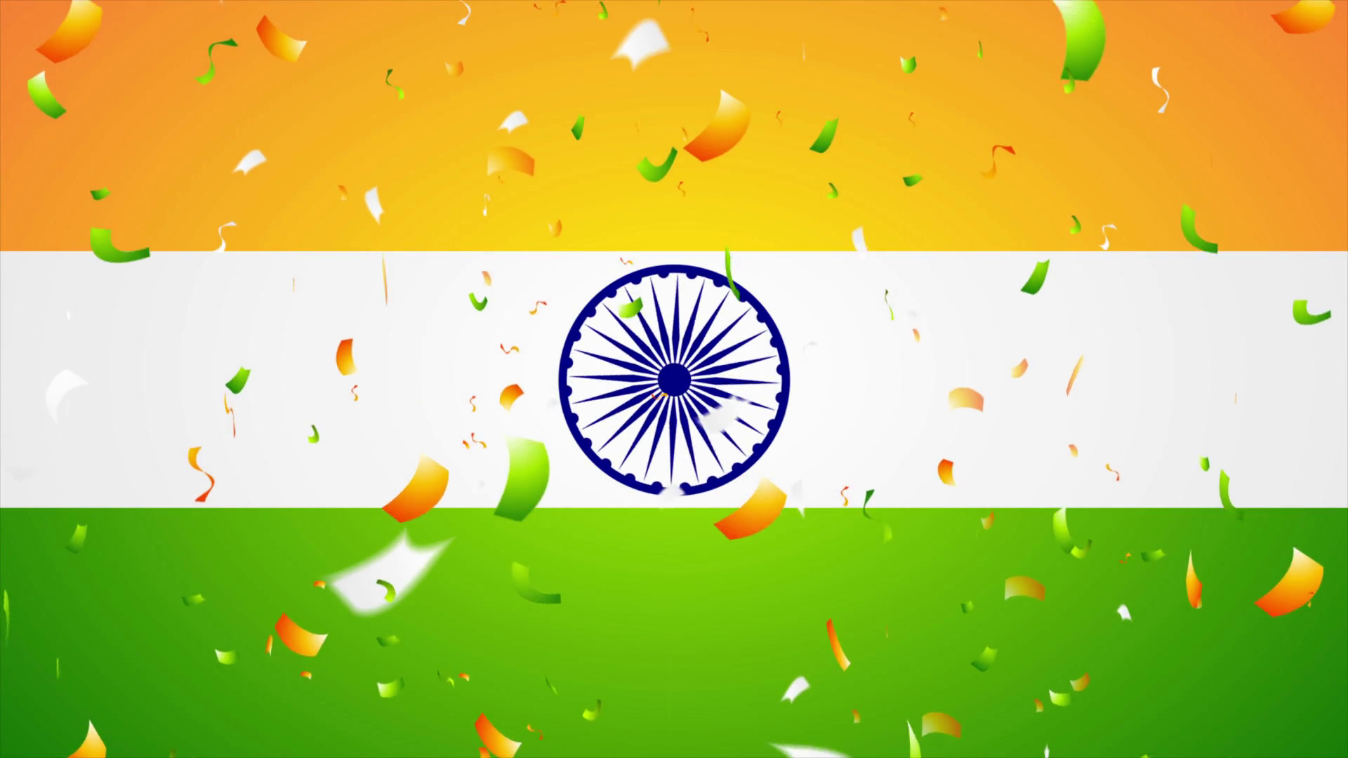 Bright confetti on Indian flag Republic Day 26 January motion 1920x1080