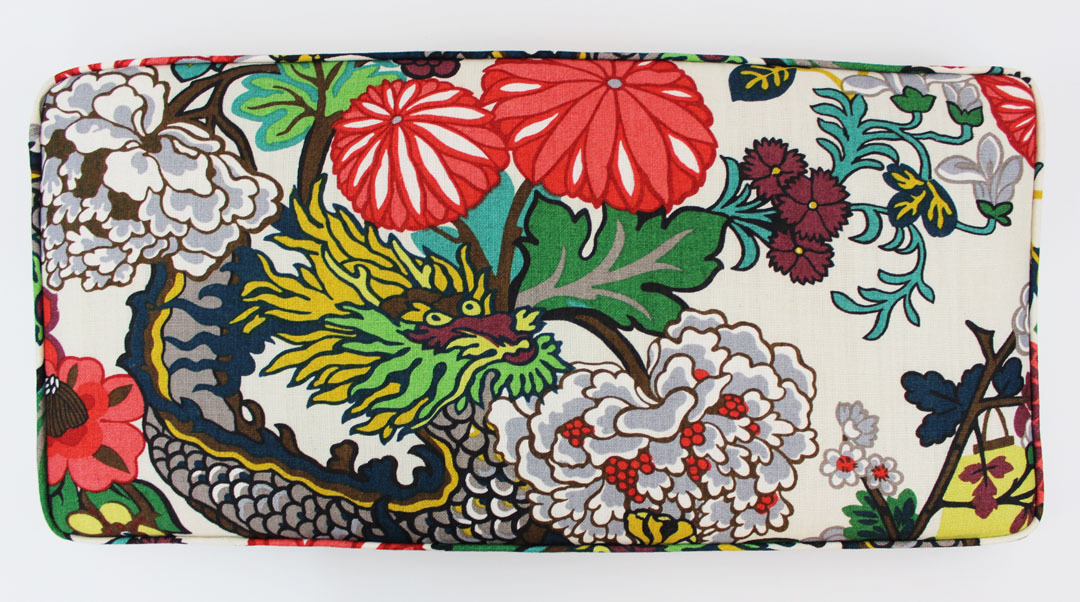 Chiang Mai Dragon Custom Cushion by Lynn Chalk in Alabaster 1080x602