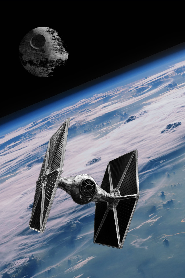 Death Star and Tie Fighter iPhone Wallpaper by Powers1ave1 on 640x960