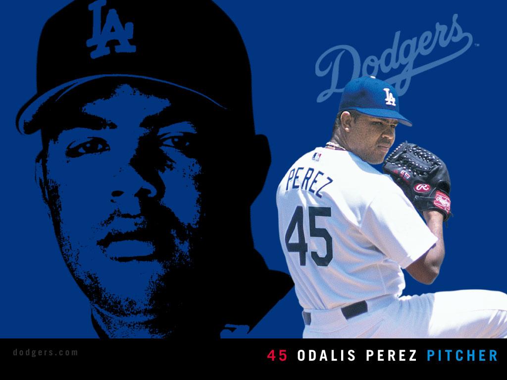 desktop wallpaper Pitcher Odalis Perez Baseball Los Angeles 1024x768