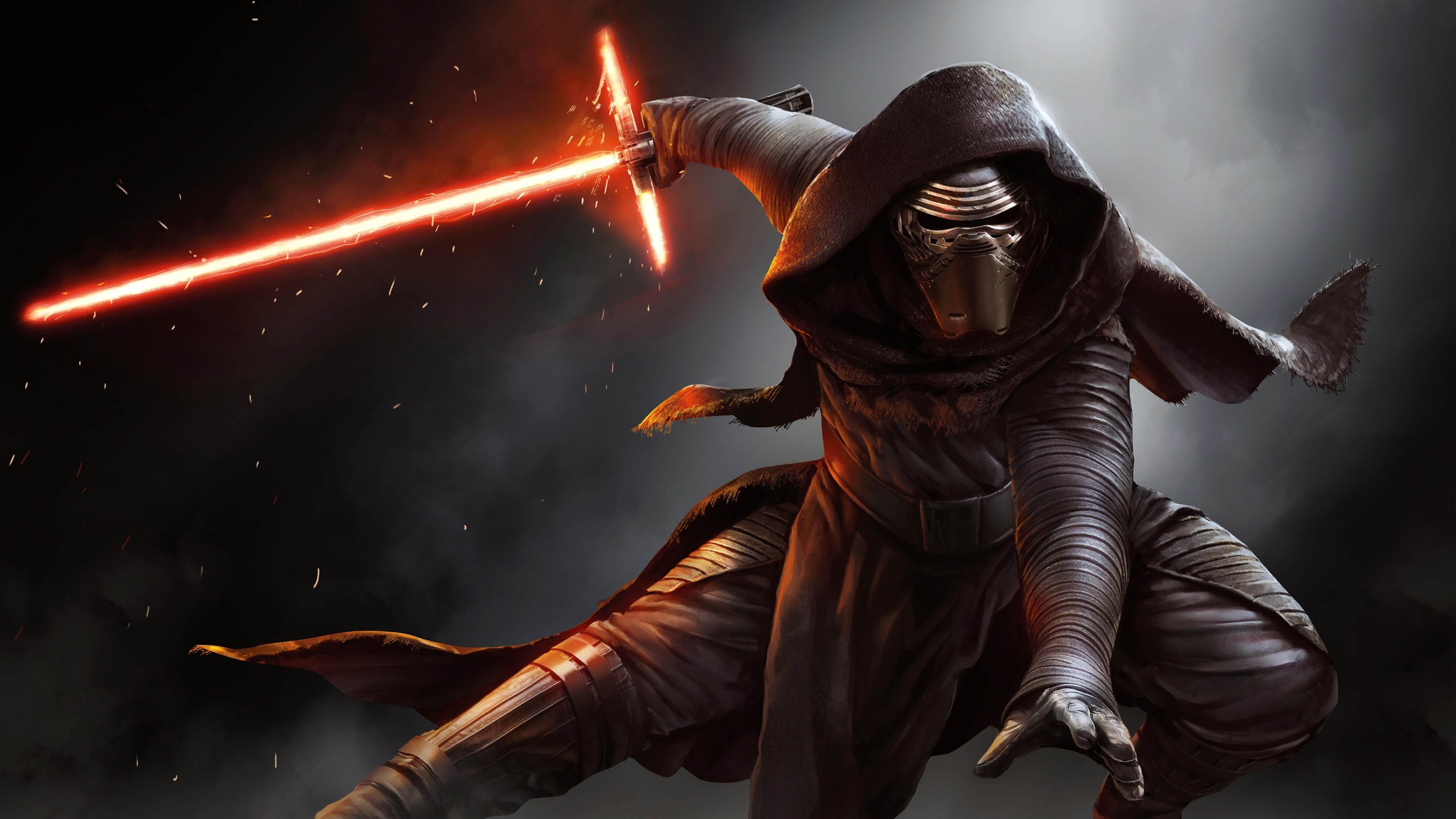Star Wars 7 The Force Awakens   Kylo Ren fighting with his Crossguard 3840x2160