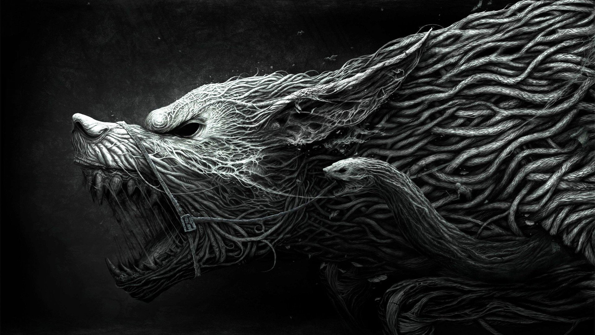 Wallpaper Wolf Hellhound art black and white dangerous noise 1920x1080
