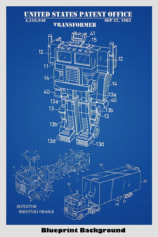 Amazoncom Optimus Prime Transformer Toy Patent Print Art Poster 1000x1500