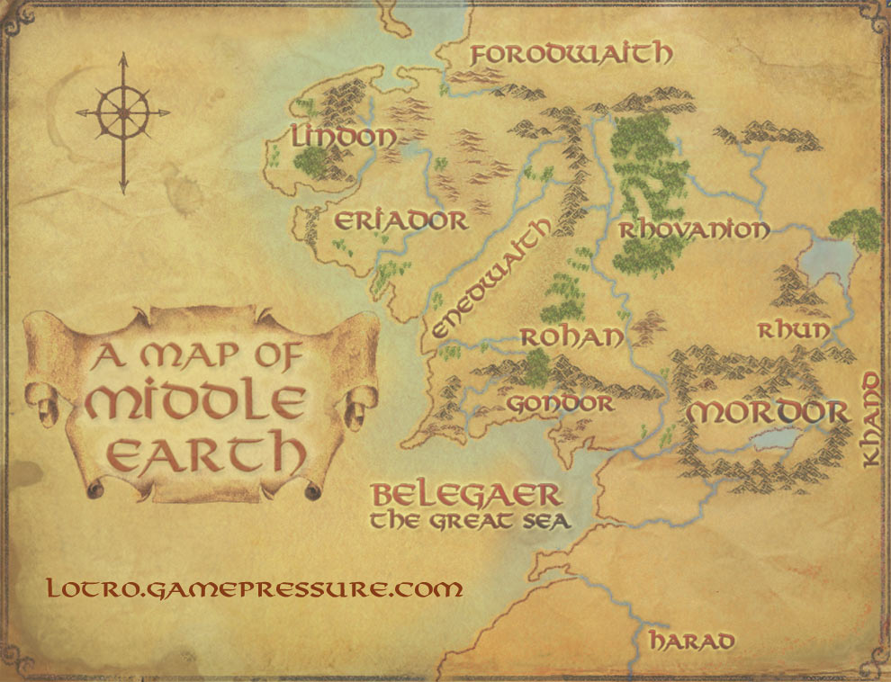 Lord of the Rings Middle Earth Map 990x758