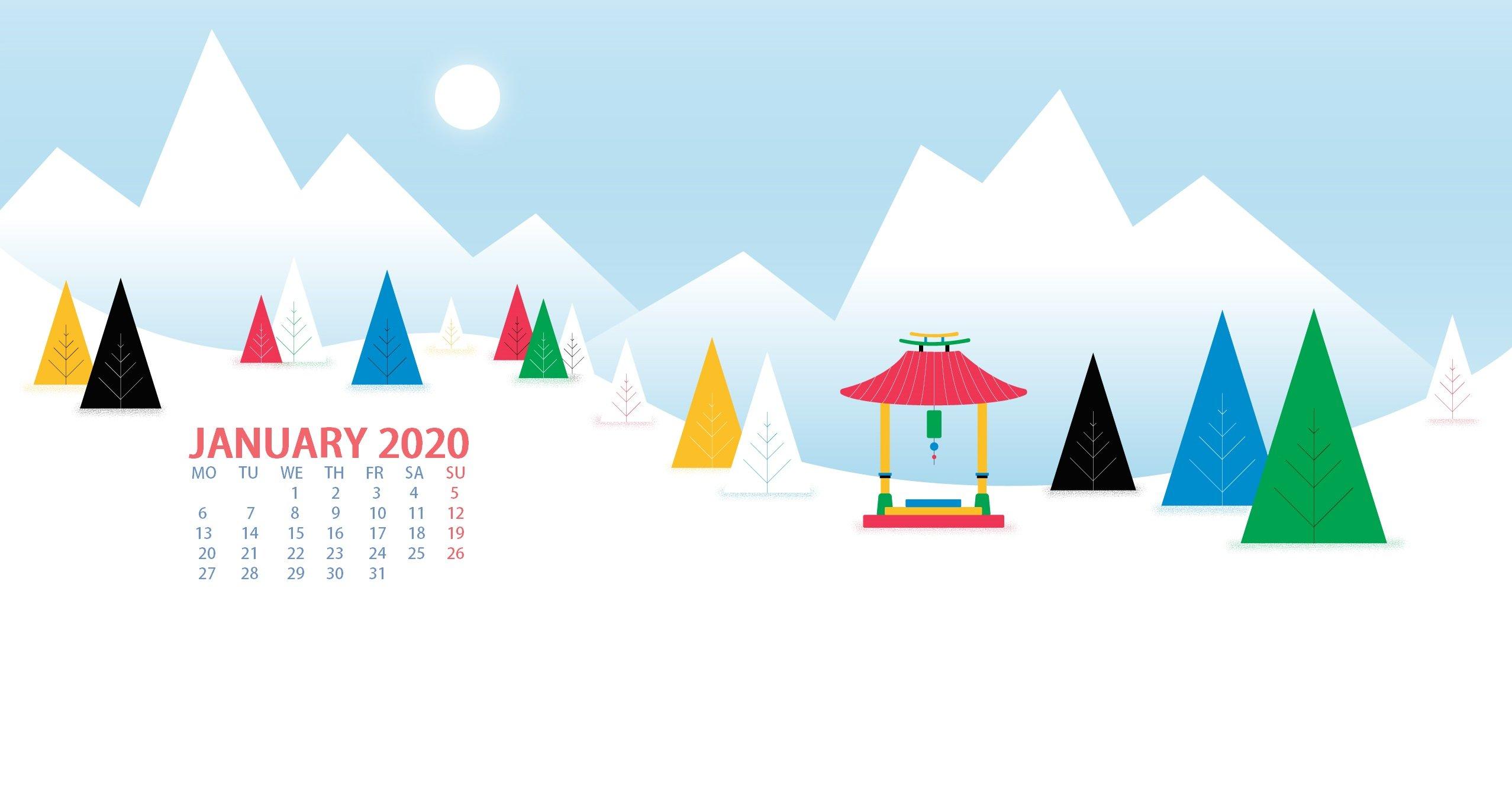 download January 2020 Desktop Calendar Wallpaper Max 2555x1337
