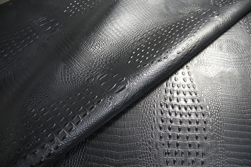 Faux Leather Fabric Embossed Alligator Crocodile Black Upholstery 1000x666