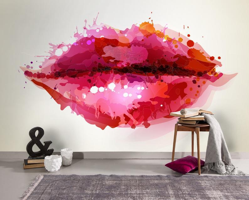 Lip Theme Wallpaper Trend Mura Wall 2019 Trending Now Etsy 794x639