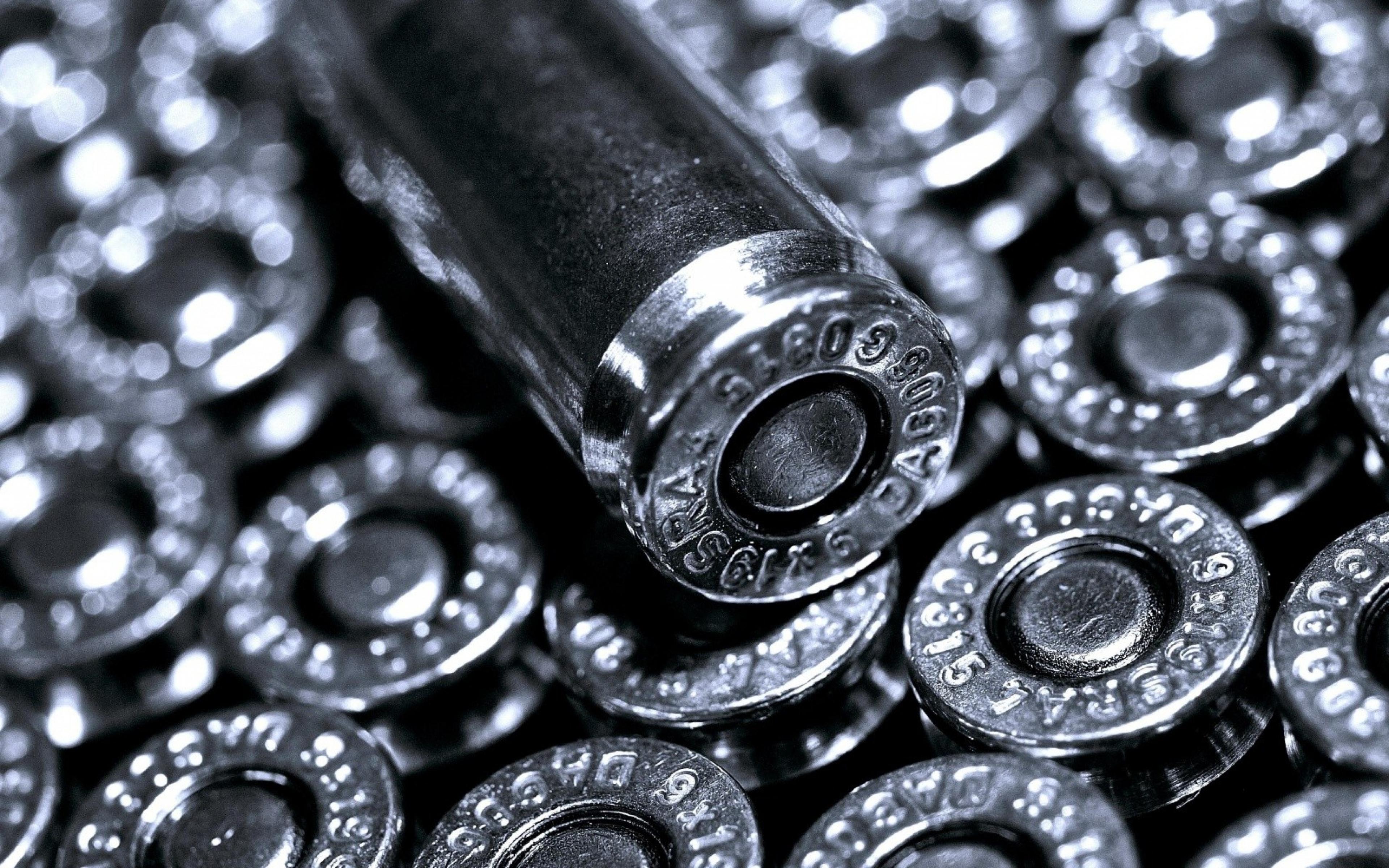 Bullets Metal Black white Silver Wallpaper Background Ultra HD 4K 3840x2400