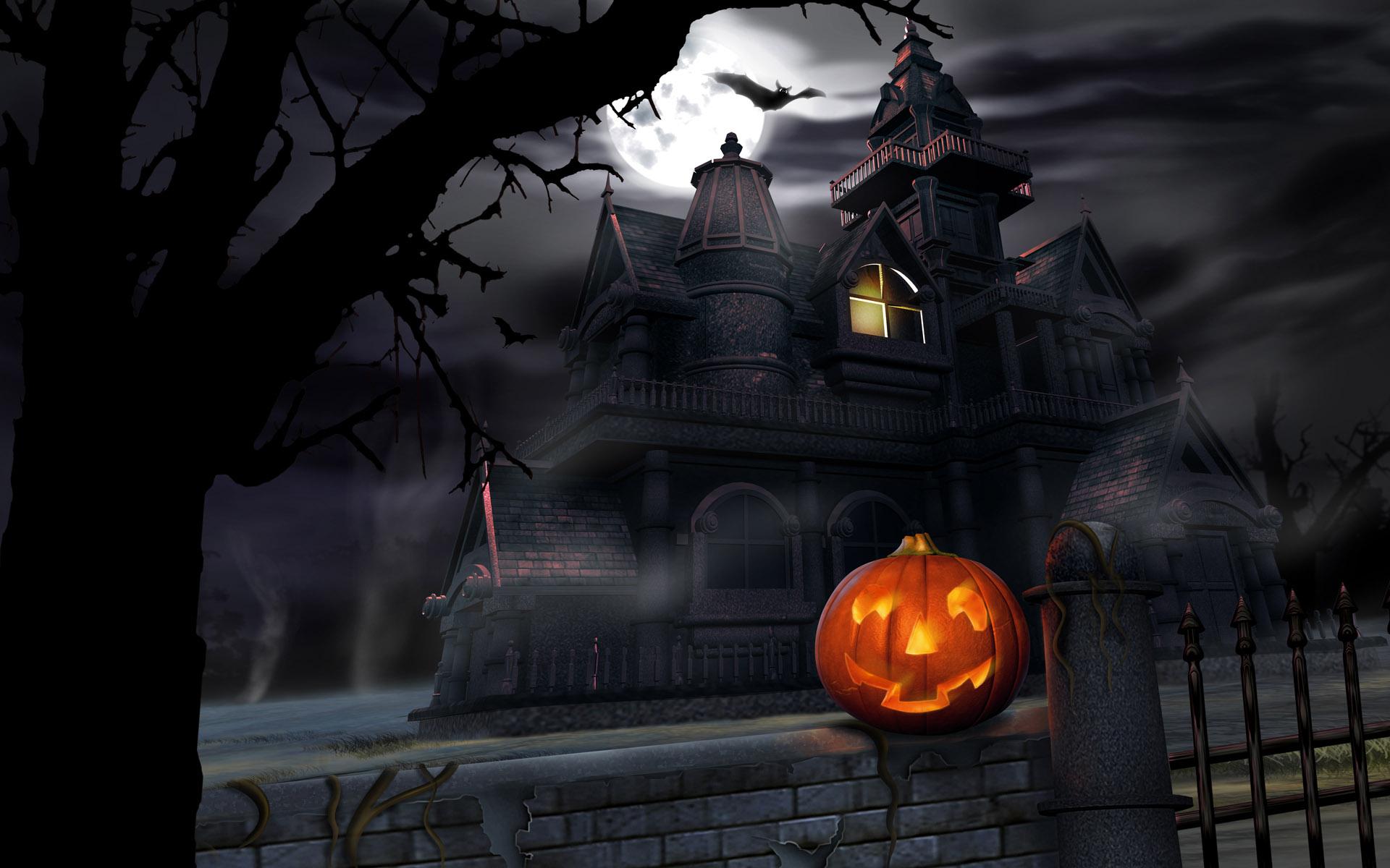 wallpapers screensavers wallpaper halloween house pumpkin 1920x1200 1920x1200
